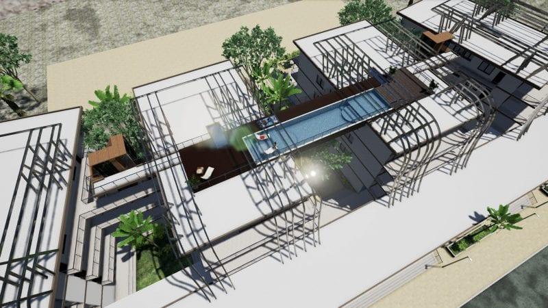 Escadas e passadiços da piscina
