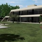 espaços exteriores de uma mansão com um software_Edificius