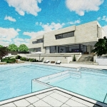 Render piscina com efeito gráfico