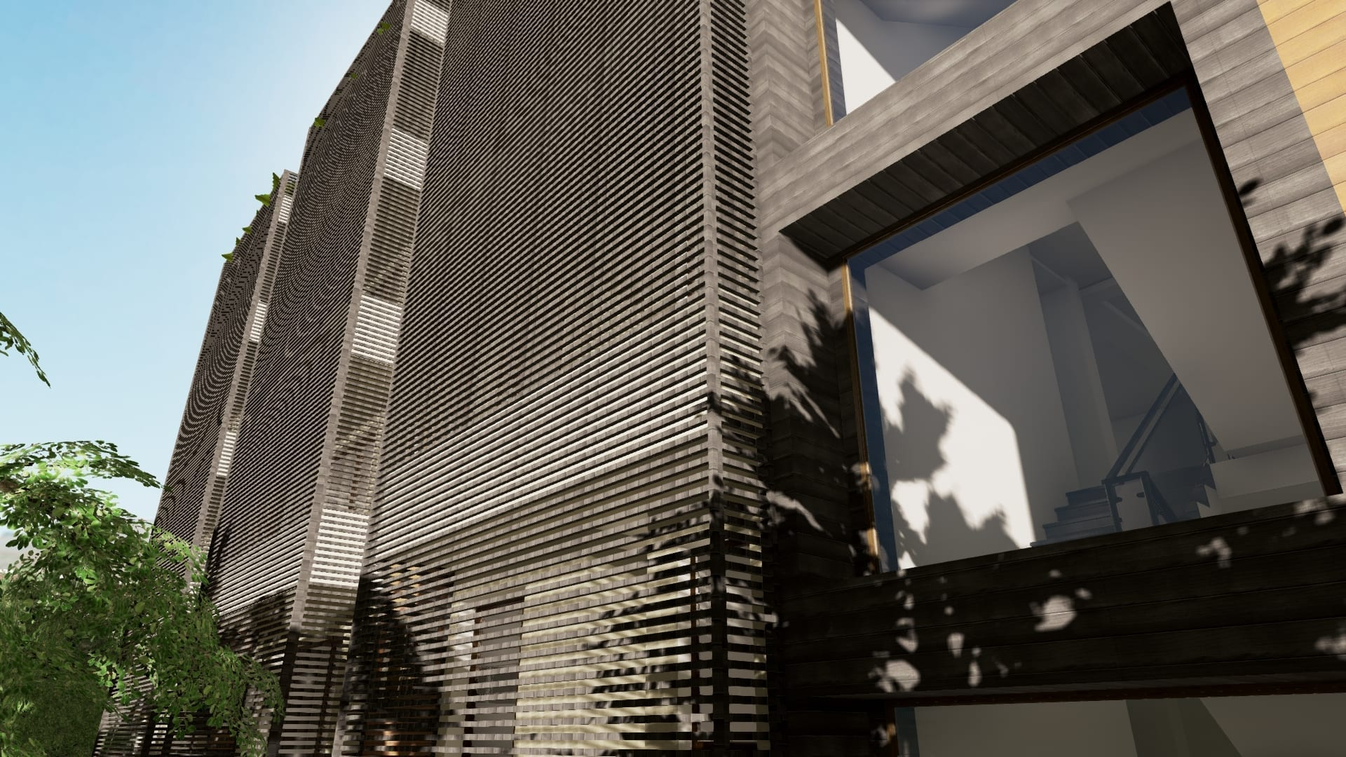 Render do brise-soleil - Cuboid House