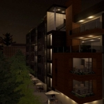 Vista à noite da fachada