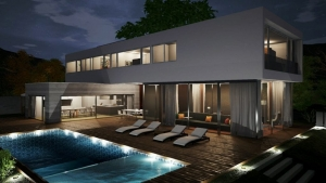 Vista à noite dos níveis da piscina