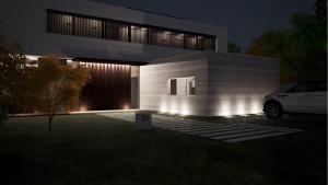 Projetores embutidos e iluminação de exteriores. Render de Casa en los Cisnes realizado com Edificius