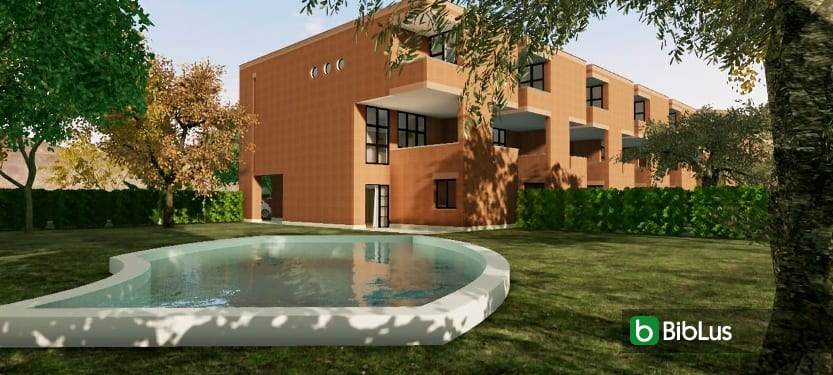 Casas geminadas contemporâneas de arquitetos famosos: o projeto de Botta com modelo BIM e plantas DWG para baixar_software BIM Edificius