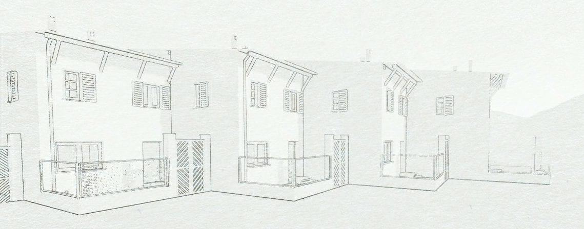 Exemplo de casas geminadas com colocação escalonada - projeto INA-Casa em Prato dello Stelvio. Obra de B. De Scarpis. Esboço realizado com o software Edificius
