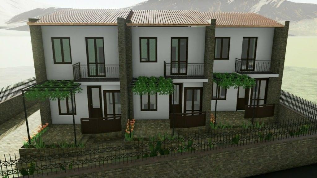 Exemplo de casas geminadas inspiradas nas realizadas no bairro INA casa Zisa – Palermo – render produzido com o software BIM Edificius