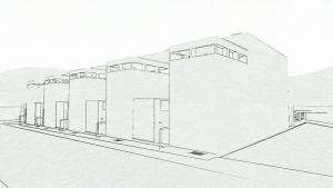 Exemplo de casas geminadas simples - bairro Weissenhof - haus 5-9, Estugarda. Obra de J.J.P. Oud. Esboço realizado com o software BIM Edificius