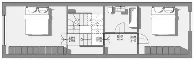 Exemplo de módulo de casas geminadas - planta do primeiro andar do projeto em Passau-Neustift. Obra de H. Schroeder e S. Widmann