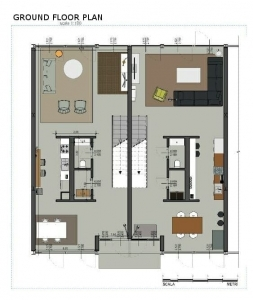 Casas geminadas de Mies van der Rohe - Lafayette Park - planta