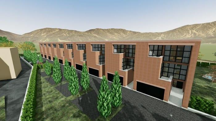 Casas geminadas de arquitetos famosos - reprodução de um projeto de Botta - rendering realizado com Edificius
