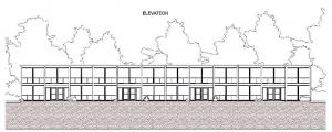 Casas geminadas de obra de Mies van der Rohe - Lafayette Park - elevação