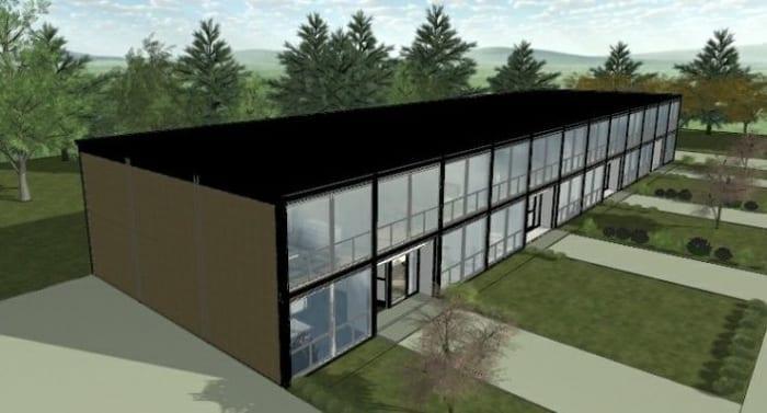 Elevação de casas geminadas inspirada no projeto em Lafayette Park, obra de Mies van der Rohe - realizada com arquivo edf