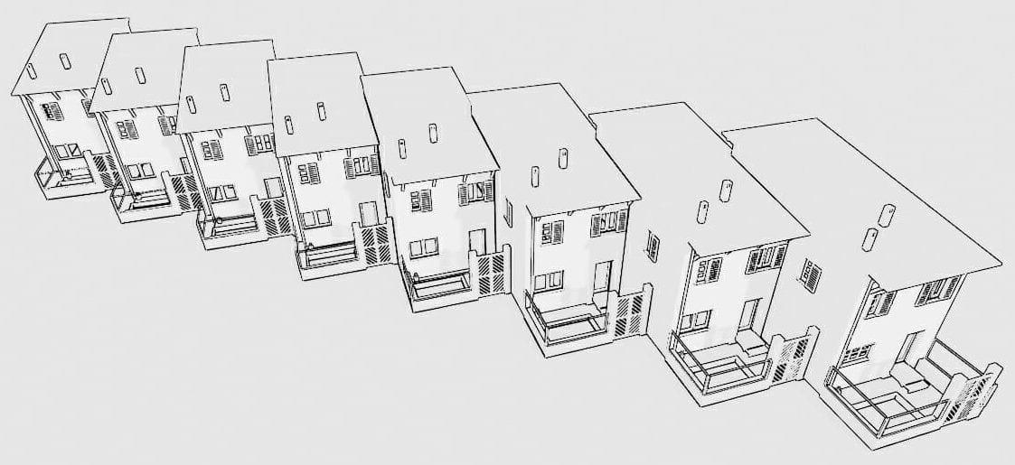 Exemplo de distribuição das habitações casas geminadas com agregação diagonal - Piano dello Stelvio