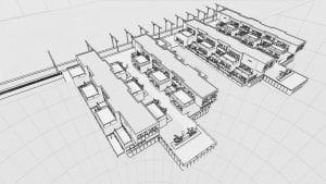 Outro exemplo de distribuição de habitações de casas geminadas: as Water Villas