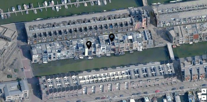 Vista aérea do bairro Borneo-Sporenburg em Amsterdão com Google Maps