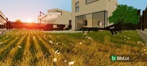 Projetos de casas geminadas com pátio e jardim: exemplos e dwg para baixar_Edificius