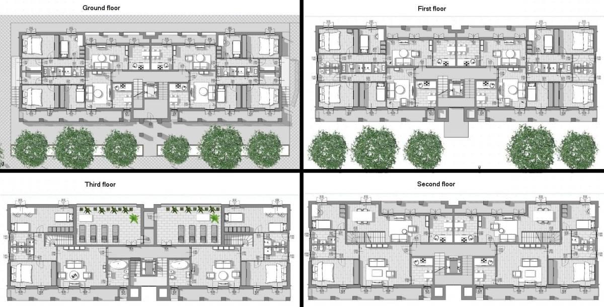 Casas em fita - Milão - Plantas térreo, primeiro segundo e terceiro andar