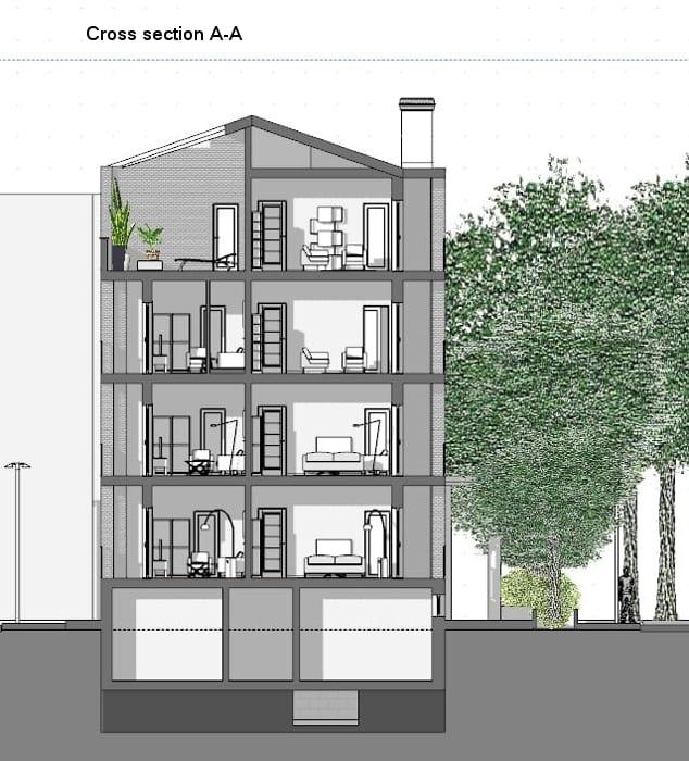 Casas em fita - Milão - Corte A-A