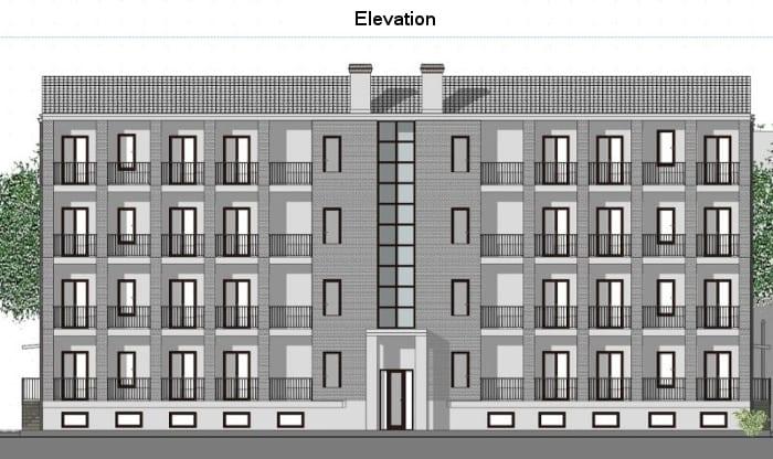 Casas em fita - Milão - Elevação realizada com o software BIM Edificius