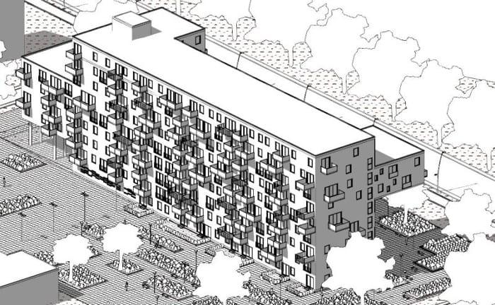 Habitação social – Apartmentos WoZoCo – axonometria posterior