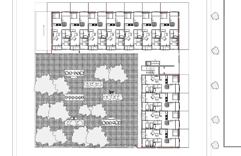 Habitação social em Lleida – planta global rés-do-chão