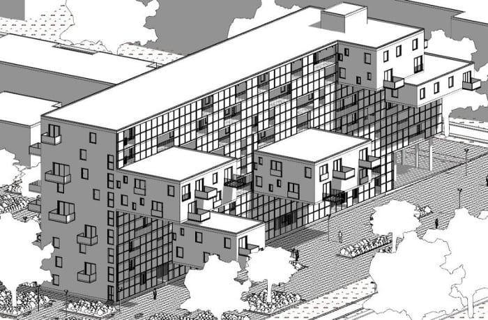 Habitação social – Apartmentos WoZoCo – axonometria anterior