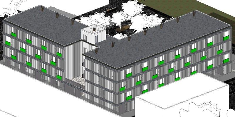 Habitação social – Lleida – axonometria