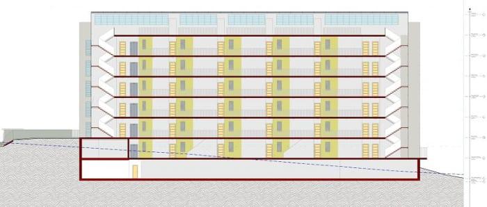 Habitação social - Corte B-B - Terrassa