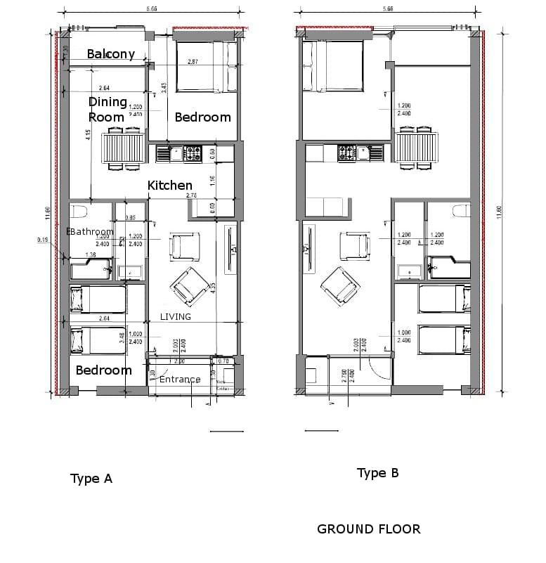 Habitação social em Lleida – planta apartamentos – tipo A, tipo B