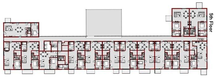 Planta do quinto andar - Apartamentos Wozoco