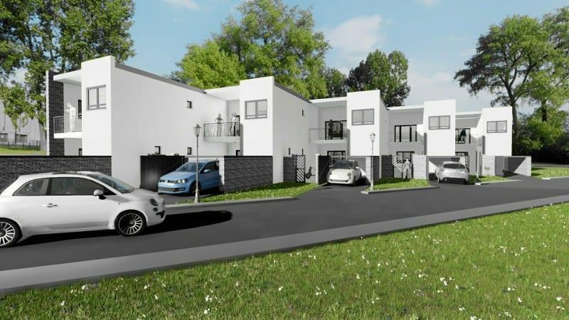 Projeto 'L' de casas geminadas com pátio ou jardim – render realizado com Edificius