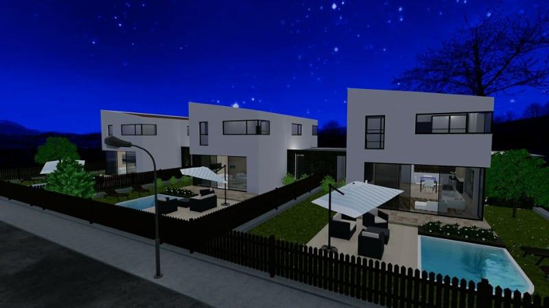 Projeto 'A' de casas geminadas com pátio ou jardim – render produzido com Edificius