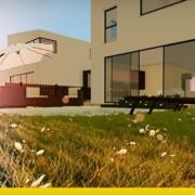 Projetos de casas geminadas com patio e jardim exemplos e dwg para baixar_Edificius BIM software Edificius