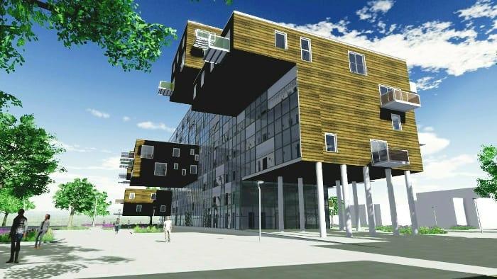 Render dos apartamentos Wozoco realizado com o software BIM Edificius