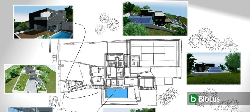 Desenho de uma casa unifamiliar de dois pisos com DWG para baixar – software BIM Edificius