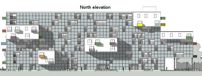 Elevação norte dos apartamentos Wozoco