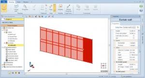 Inserção propriedades da parede de vidro com o software BIM Edificius