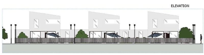 Projeto 'A' de casas geminadas com pátio ou jardim – elevação