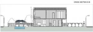 projeto 'A' de casas geminadas com pátio ou jardim – corte B-B
