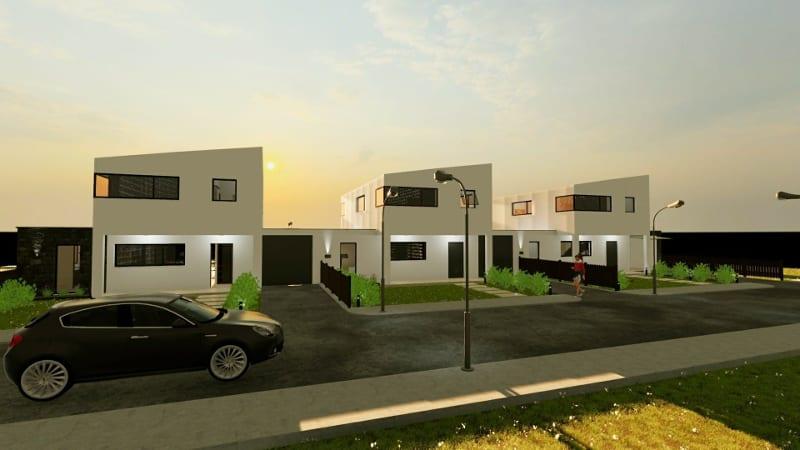 Projeto 'A' de casas geminadas com pátio ou jardim