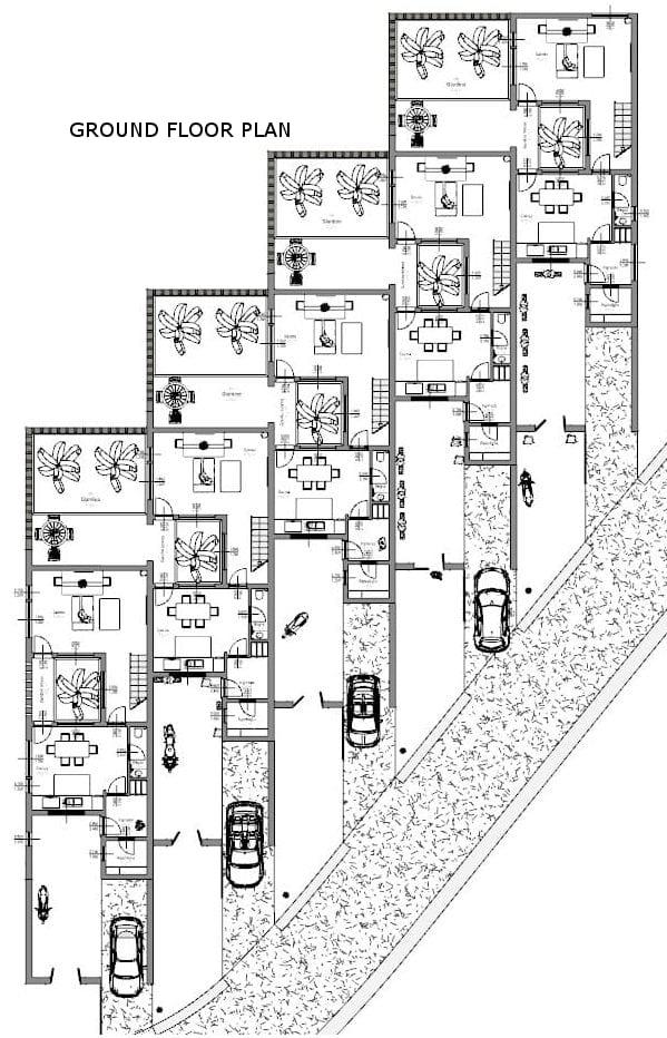 Projeto 'L' de casas geminadas com pátio ou jardim – planta rés-do-chão – global