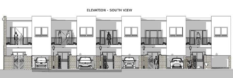Projeto 'L' de casas geminadas com pátio ou jardim – elevação