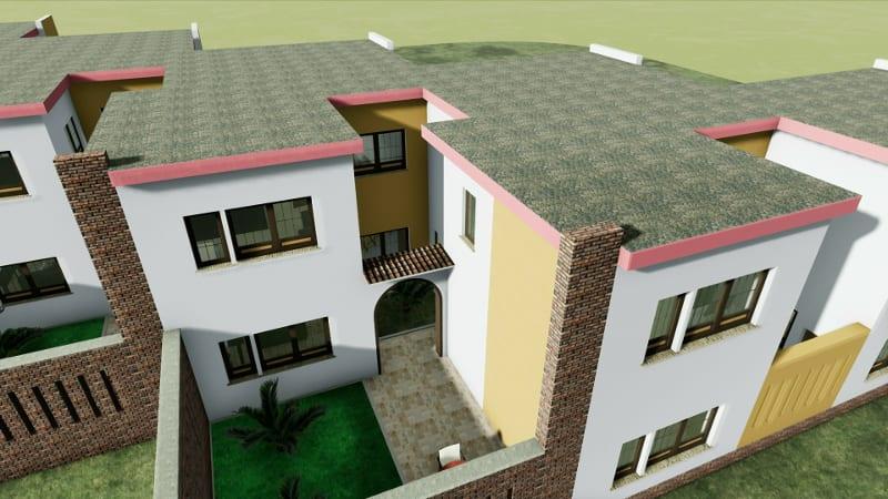 Projeto 'L' de casas geminadas com pátio ou jardim