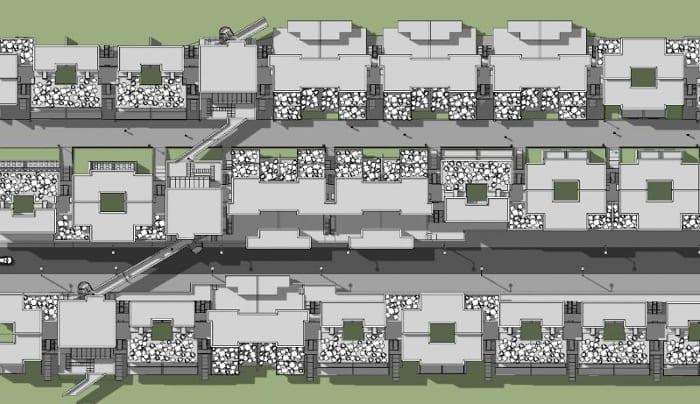 Casas em fita - Villaggio Matteotti - De Carlo - planimetria