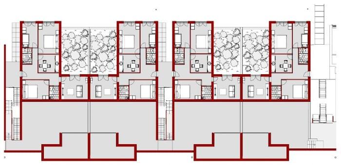 Casas em fita - Villaggio Matteotti - De Carlo - planta térreo
