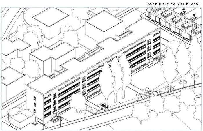 Casas em fita - Weissenhof- Estugarda - Mies van der Rohe - vista isométrica