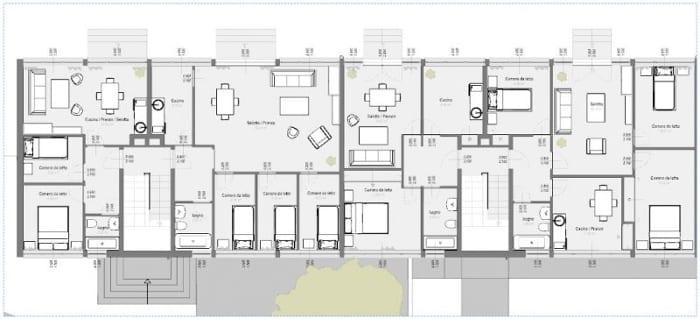 Casas em fita - Weissenhof- Estugarda - Mies van der Rohe - planta individual térreo