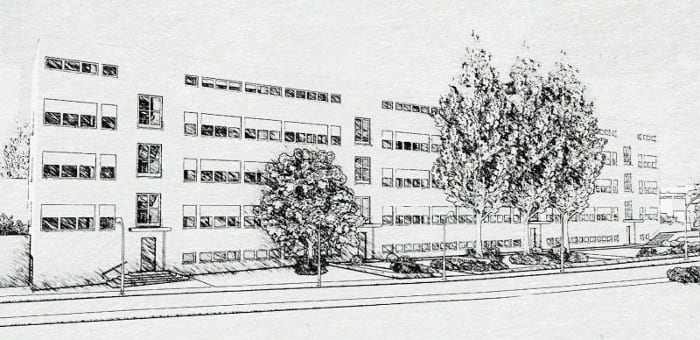 Casas em fita - Weissenhof- Estugarda, obra de Mies van der Rohe - esboço