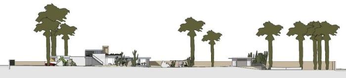 Kaufmann House-elevação AA-software-BIM-Edificius