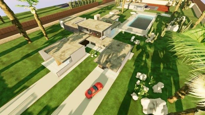 casa-unifamiliar-casa-Kaufmann-render-espaços externos-software-BIM-Edificius